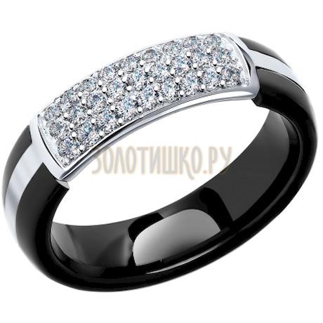 Кольцо из серебра с керамической вставкой и фианитом 94011648