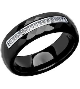 Керамическое кольцо с серебром и фианитами 94011661