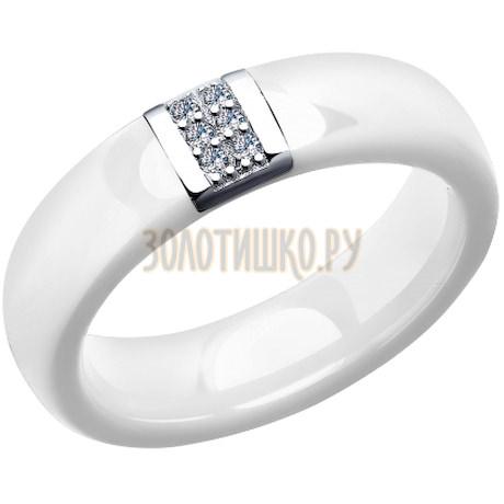 Кольцо из серебра с керамической вставкой и фианитом 94011673