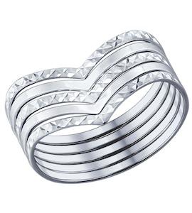 Кольцо наборное из серебра с алмазной гранью 94011700