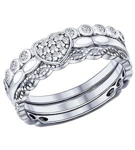 Серебряное наборное кольцо с фианитами 94011705