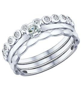 Наборное кольцо из серебра с фианитами 94011706