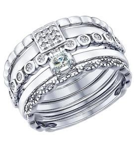 Наборное кольцо из серебра с фианитами 94011707