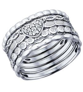 Наборное кольцо из серебра с фианитами 94011708