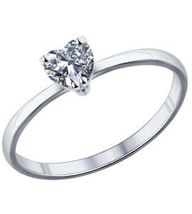 Помолвочное кольцо из серебра с фианитом 94011721
