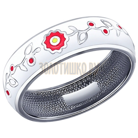 Кольцо из серебра с эмалью 94011735