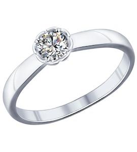 Помолвочное кольцо из серебра с фианитом 94011749