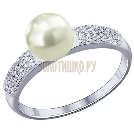 Кольцо из серебра с жемчугом и фианитами 94011764