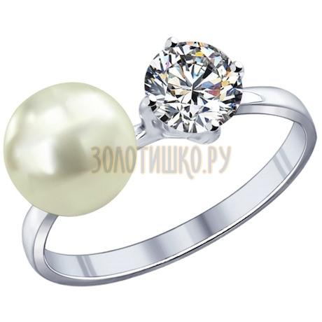 Кольцо из серебра с жемчугом и фианитом 94011795