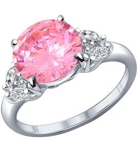 Кольцо из серебра с розовым фианитом 94011803