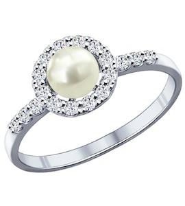 Кольцо из серебра с жемчугом и фианитами 94011808