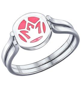 Кольцо-трансформер из серебра с эмалью с фианитом 94011830