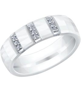 Керамическое кольцо с серебром и фианитами 94011838
