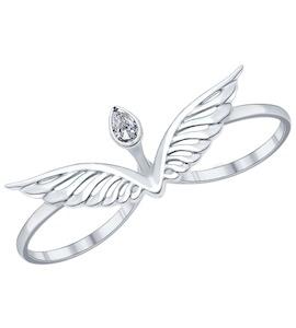 Кольцо на два пальца из серебра с фианитом 94011900