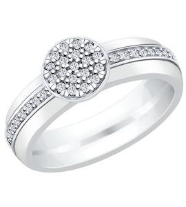 Белое керамическое кольцо с серебром и фианитами 94011903