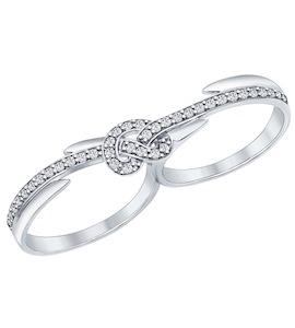 Кольцо на два пальца из серебра с фианитами 94011905