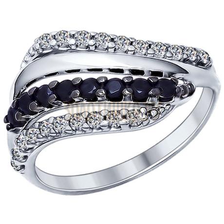 Кольцо из серебра с фианитами и чёрными фианитами 94011965
