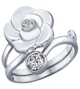 Кольцо-трансформер из серебра с фианитами 94011967