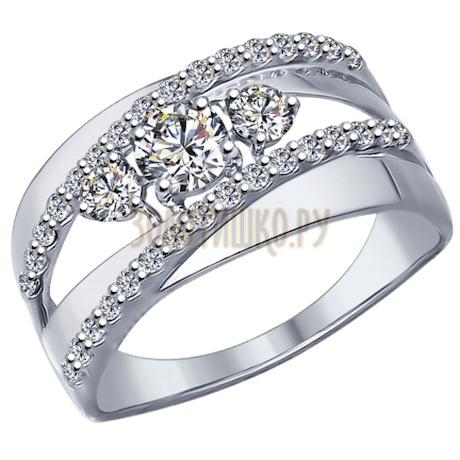 Кольцо из серебра с фианитами 94011975