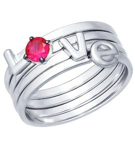 Кольцо наборное из серебра с красным фианитом 94011997