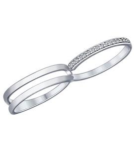Кольцо на два пальца из серебра с фианитами 94012015