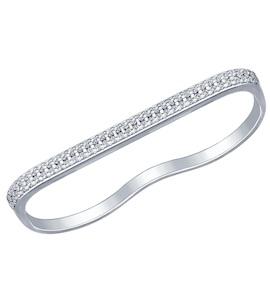 Кольцо на два пальца из серебра с фианитами 94012024