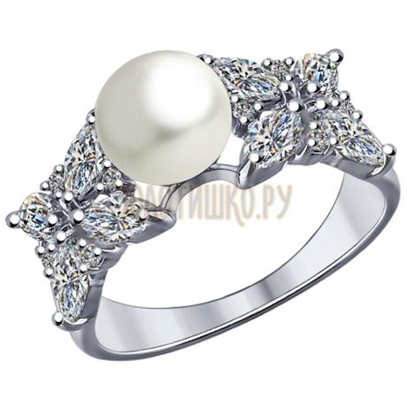 Кольцо из серебра с жемчугом и фианитами 94012033