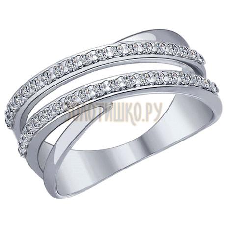 Кольцо из серебра с фианитами 94012043