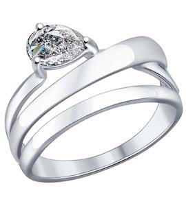 Кольцо из серебра с фианитом 94012046