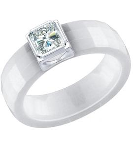 Белое керамическое кольцо с серебром и фианитом 94012059