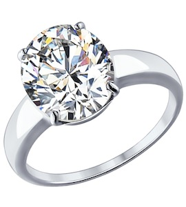 Помолвочное кольцо из серебра с фианитом 94012074