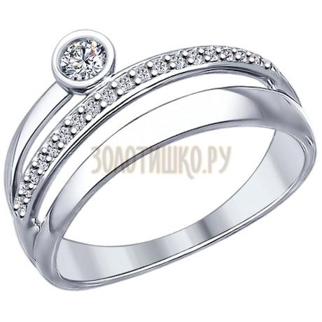 Кольцо из серебра с фианитами 94012092