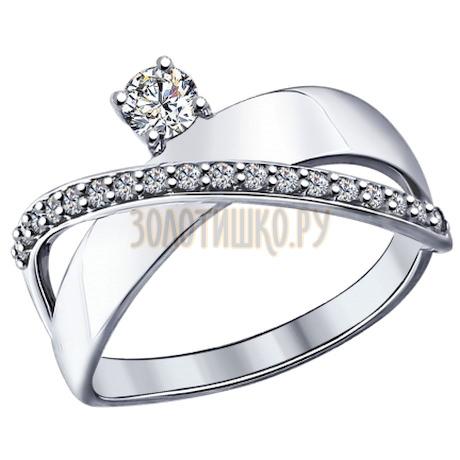 Кольцо из серебра с фианитами 94012093