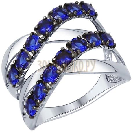 Кольцо из серебра с синими фианитами 94012105
