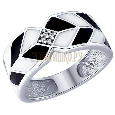 Кольцо из серебра с эмалью и фианитами 94012162
