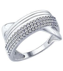 Кольцо из серебра с фианитами 94012175