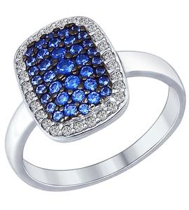 Кольцо из серебра с синими фианитами 94012186