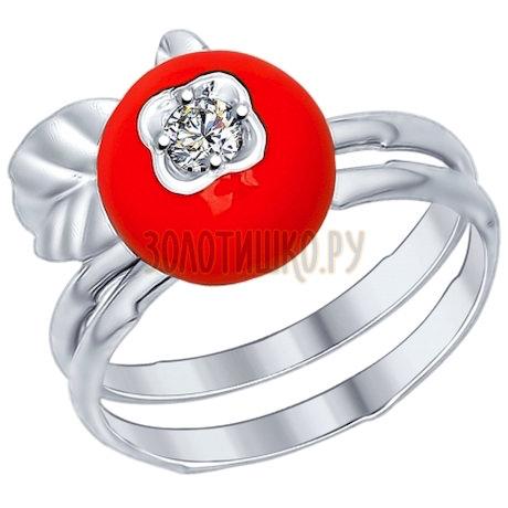 Кольцо из серебра с эмалью с фианитом 94012193