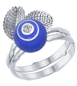 Кольцо из серебра с эмалью с фианитом 94012205