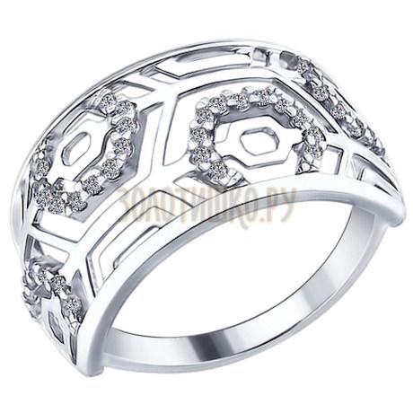 Кольцо из серебра с фианитами 94012209