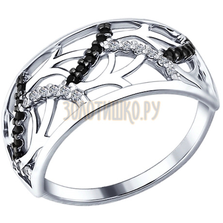 Кольцо из серебра с бесцветными и чёрными фианитами 94012223
