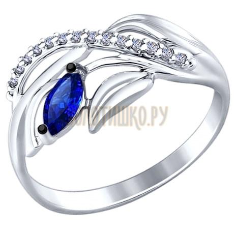 Кольцо из серебра с бесцветными и синим фианитами 94012239