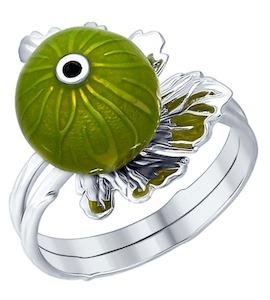 Кольцо из серебра с эмалью 94012269