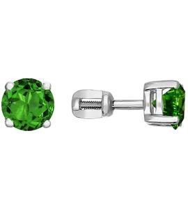 Серебряные пусеты с зелёным фианитом 94020531