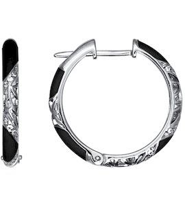 Серьги из серебра с эмалью с фианитами 94021240