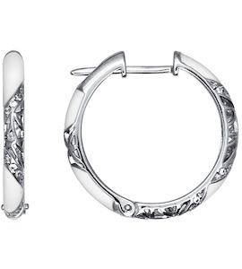 Серьги-кольца с белой эмалью 94021241