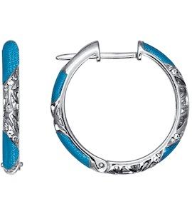 Серьги в форме колец с голубой эмалью 94021242