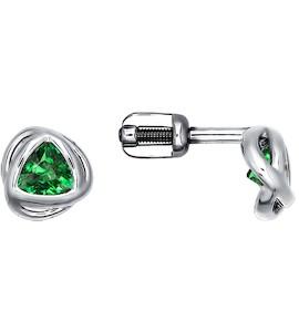 Серебряные пусеты с зелёными фианитами 94021282