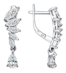 Изысканные серебряные серьги с фианитами 94021311