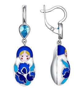 Серьги-матрёшки с голубыми узорами 94021313